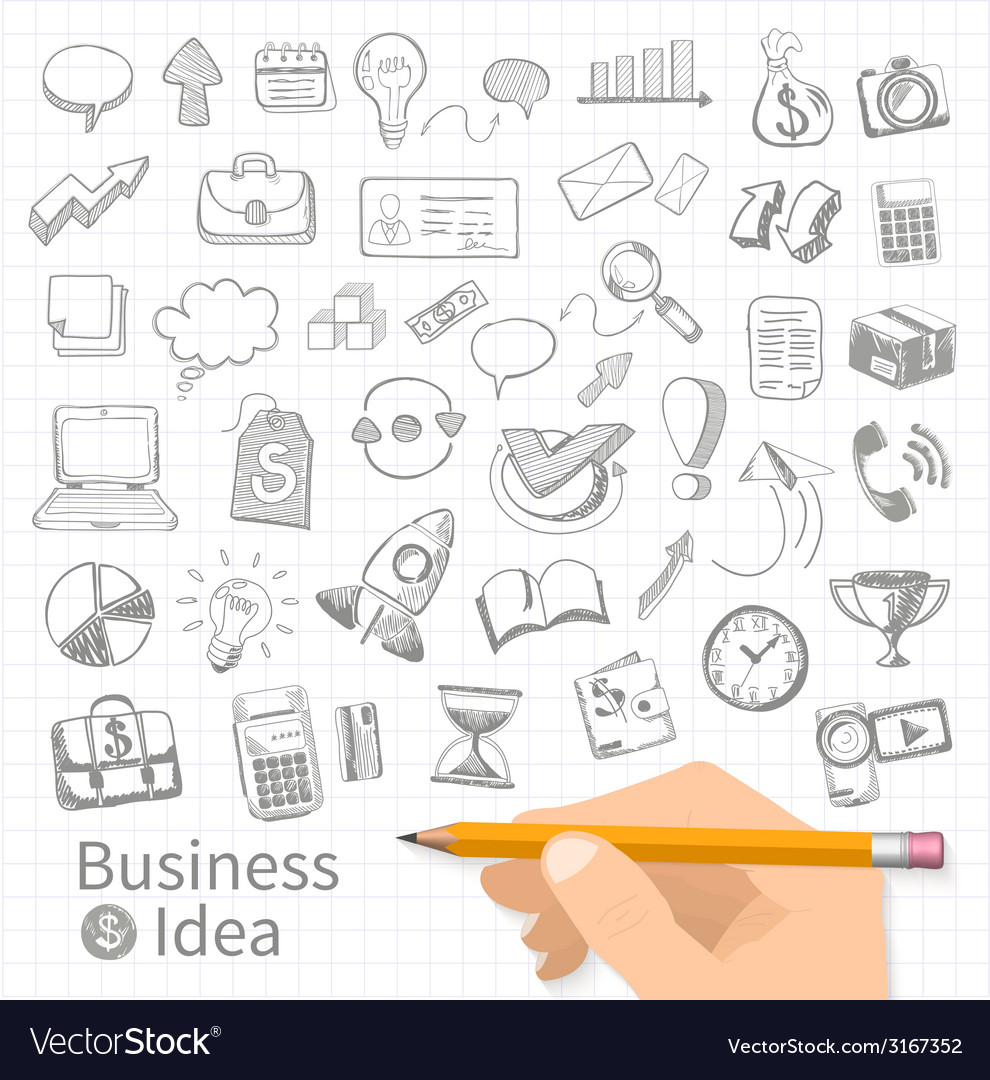 Set of doodle business management vector | Price: 1 Credit (USD $1)