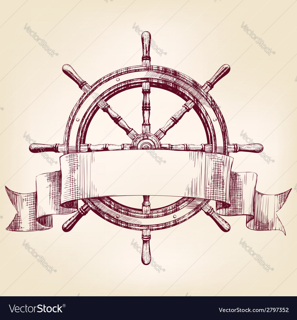 Ship steering wheel drawing vector | Price: 1 Credit (USD $1)
