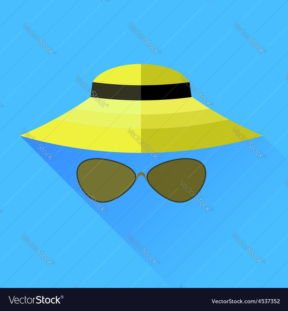 Straw hat and glasses vector | Price: 1 Credit (USD $1)