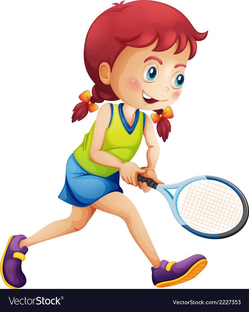 A young lady playing tennis vector | Price: 1 Credit (USD $1)