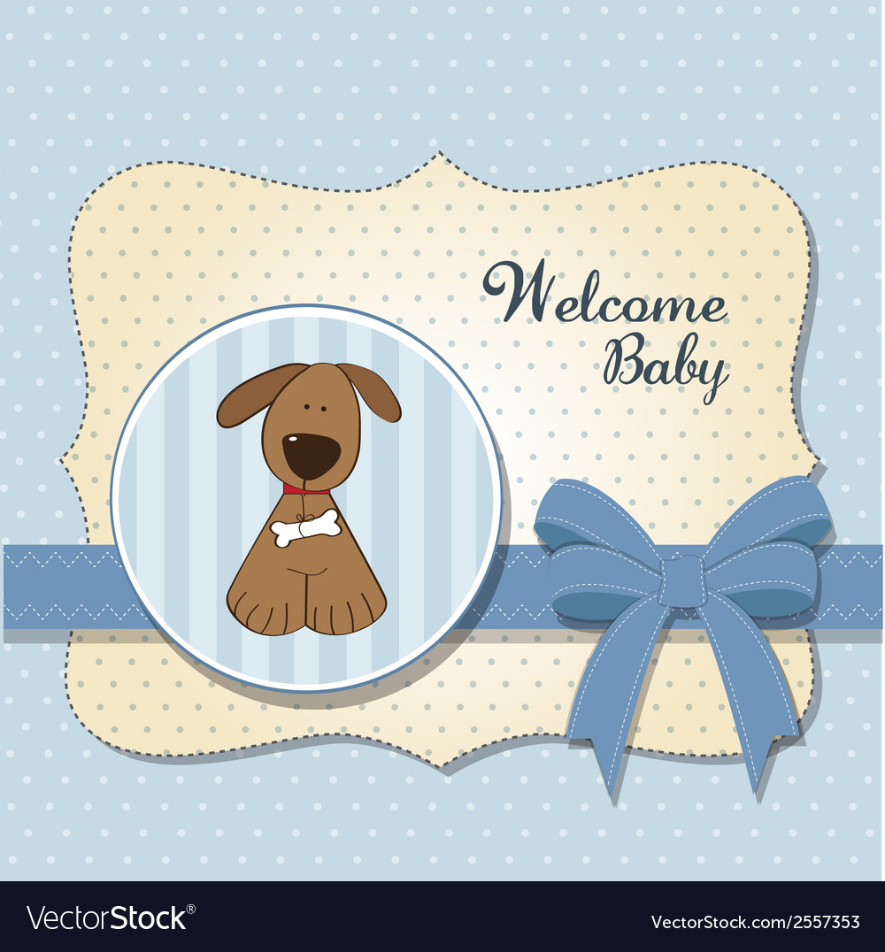 Baby shower card with dog vector | Price: 1 Credit (USD $1)