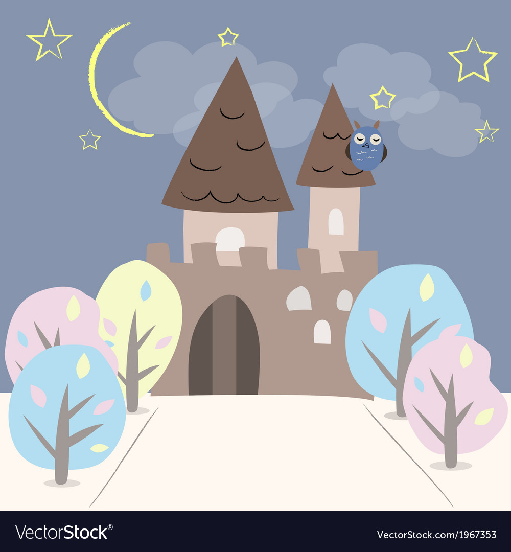 Castle with two towers and trees vector | Price: 1 Credit (USD $1)