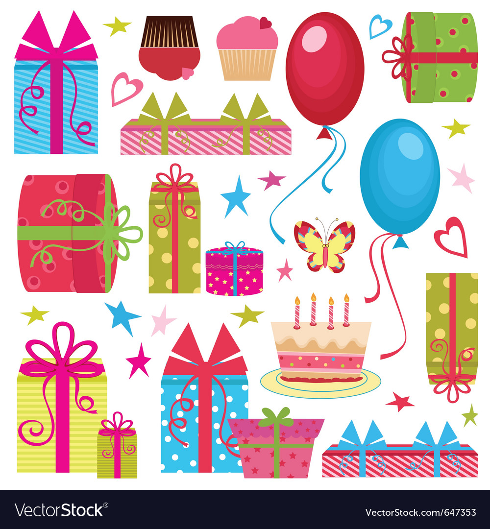 Colorful birthday party set vector | Price: 1 Credit (USD $1)