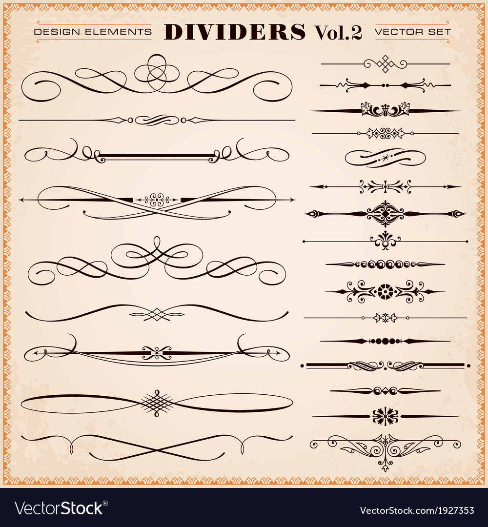 Design elements dividers and dashes vector | Price: 1 Credit (USD $1)