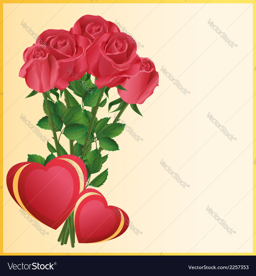 Greeting card with two hearts and red roses vector | Price: 1 Credit (USD $1)