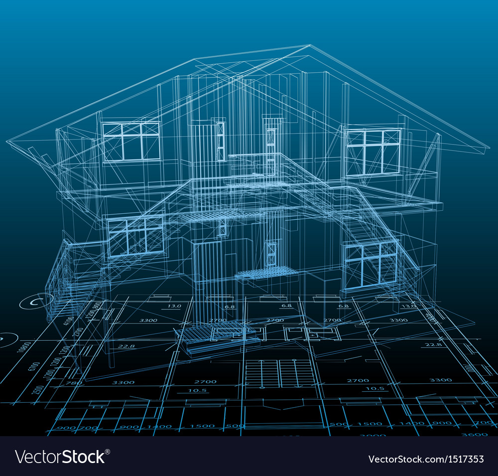 House technical draw blue background vector | Price: 1 Credit (USD $1)