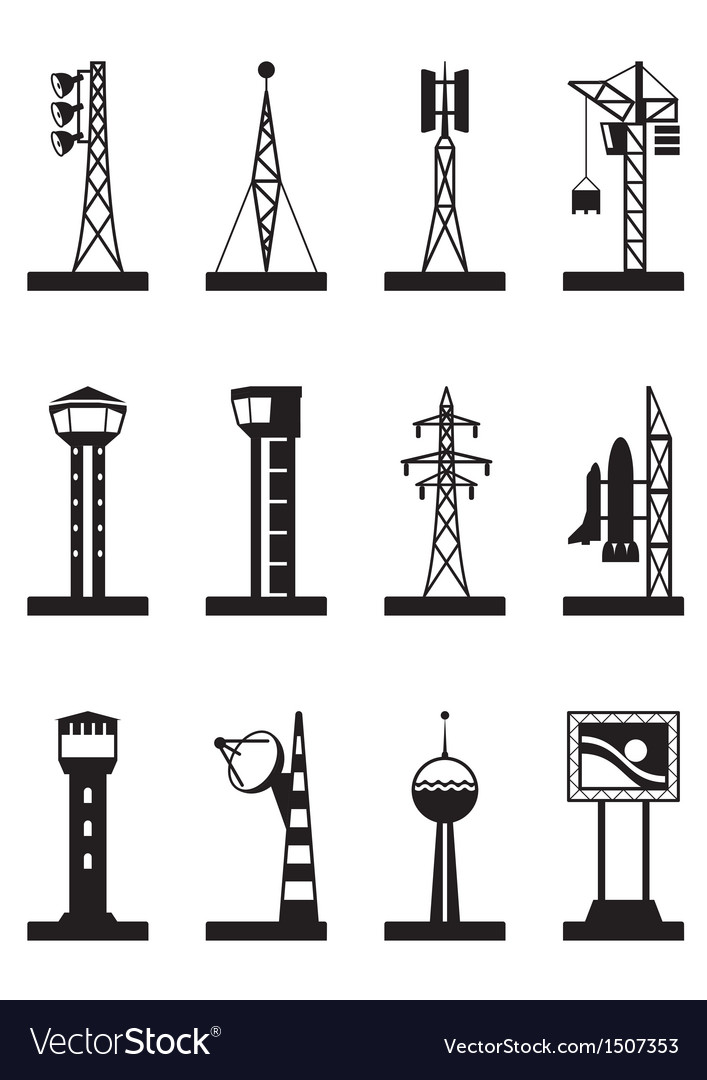 Industrial towers and poles vector | Price: 1 Credit (USD $1)