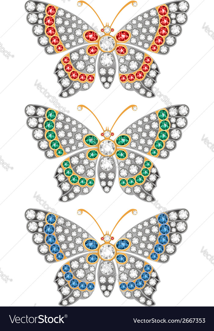 Jewerly butterflies vector | Price: 1 Credit (USD $1)