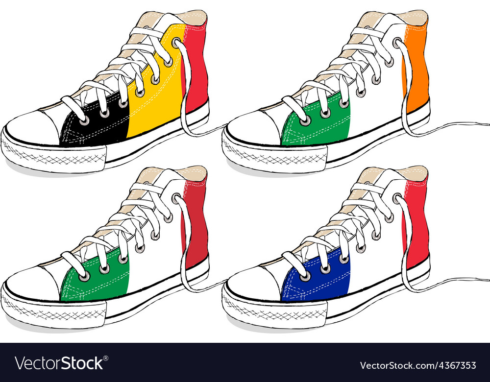 Modern hand draw sneakers with europe union flags vector | Price: 1 Credit (USD $1)