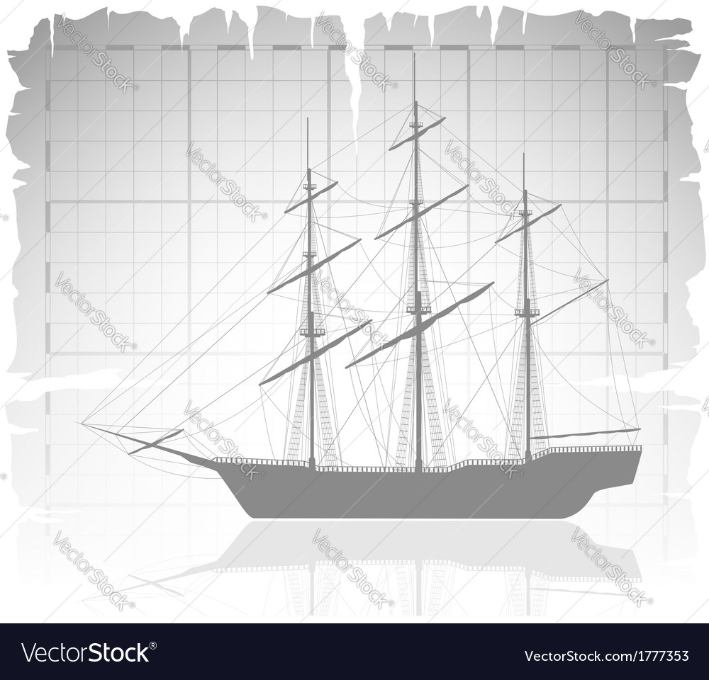 Old ship over ancient map with grid vector | Price: 1 Credit (USD $1)