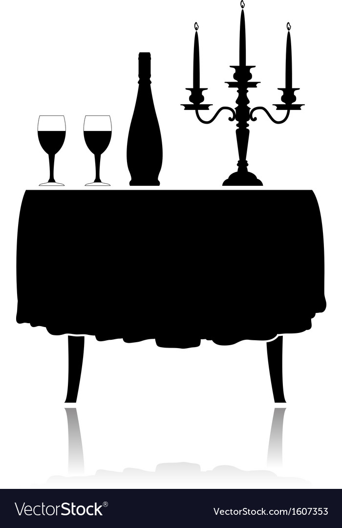 Romantic restaurant table vector