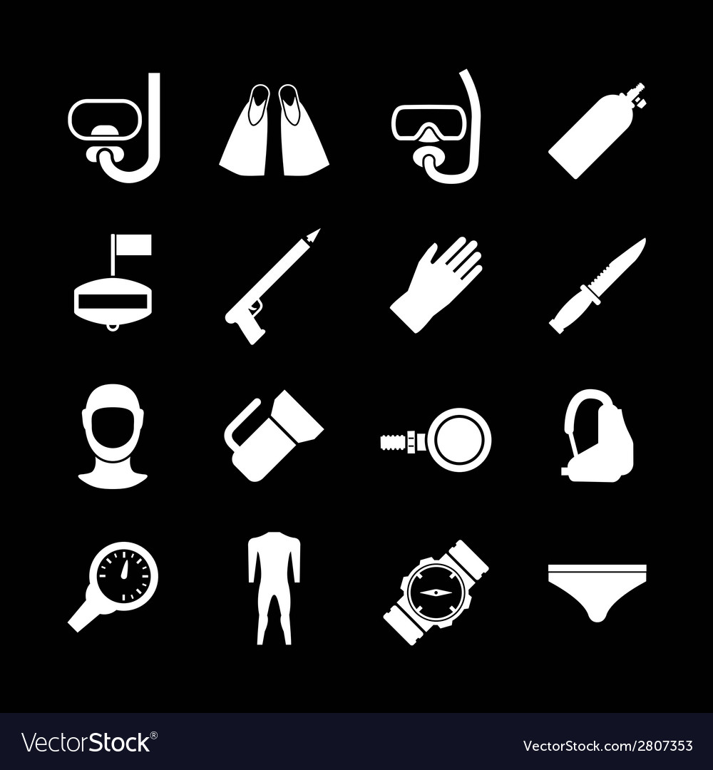 Set icons of diving vector | Price: 1 Credit (USD $1)