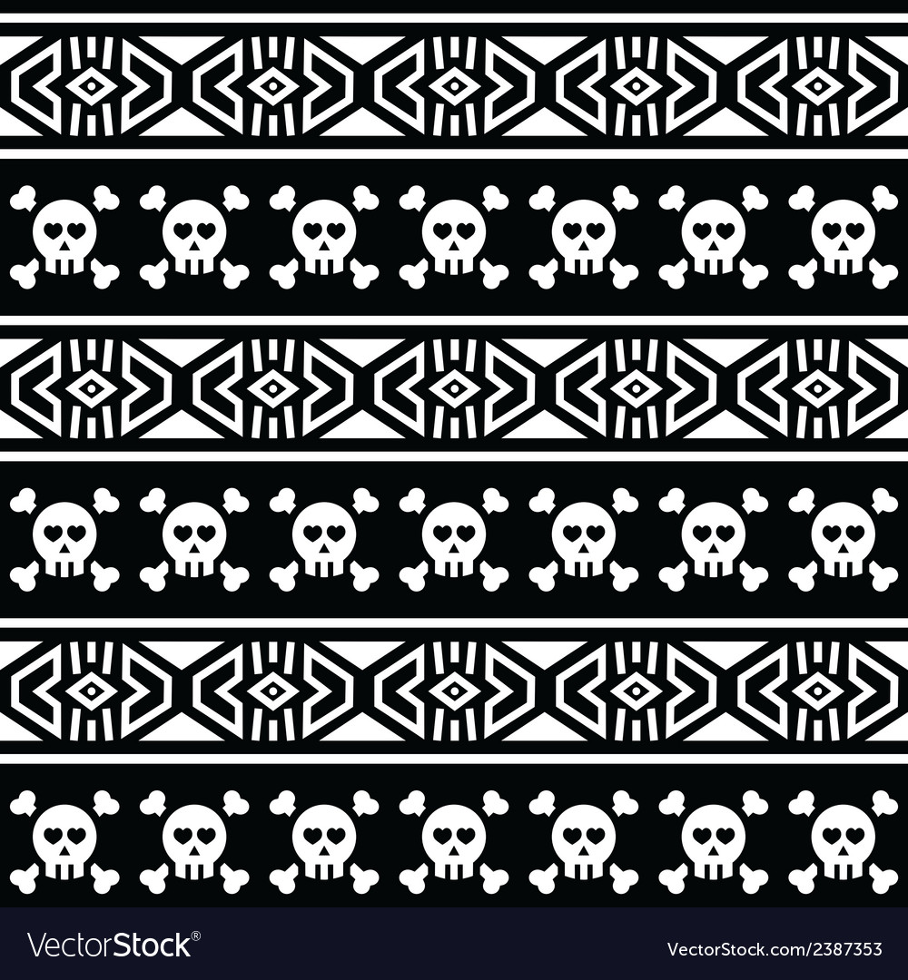 Tribal aztec seamless pattern with skull on black vector | Price: 1 Credit (USD $1)