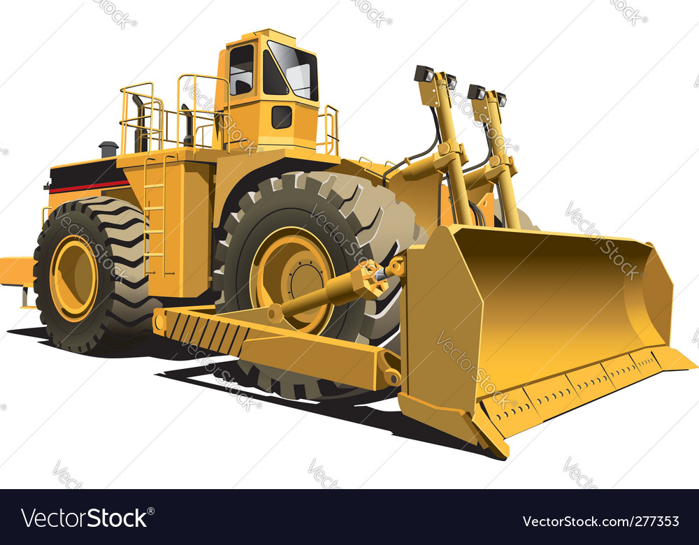 Wheeled dozer vector | Price: 3 Credit (USD $3)