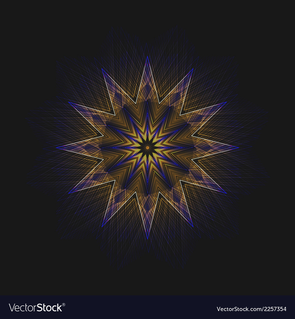 Abstract flame star on black background vector | Price: 1 Credit (USD $1)