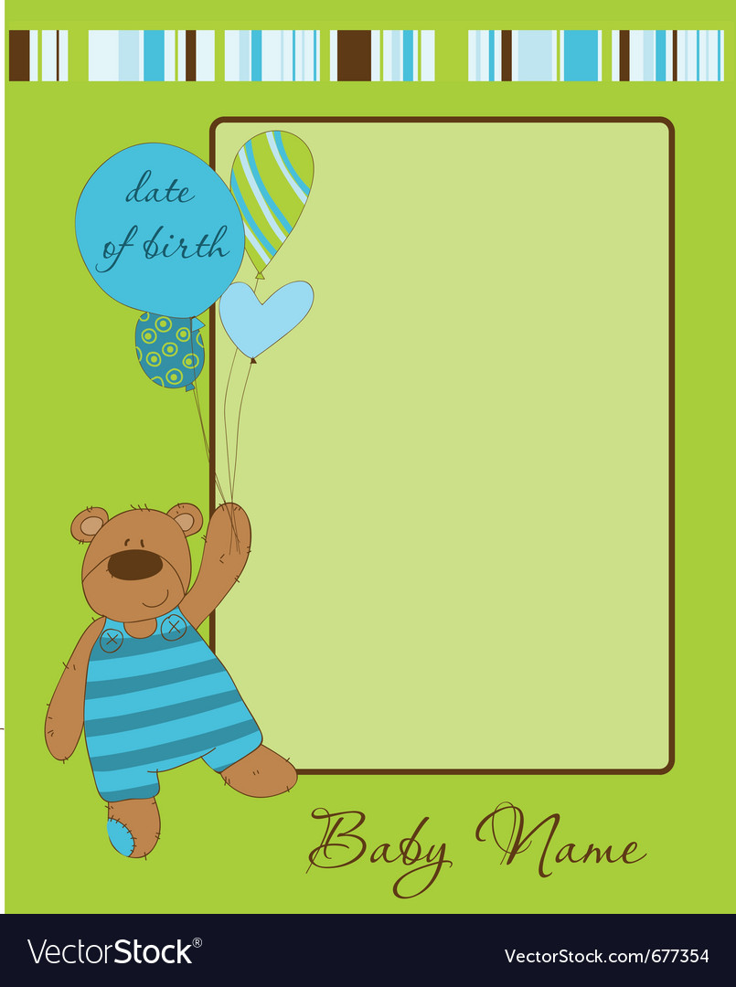 Baby boy arrival card with frame vector | Price: 1 Credit (USD $1)