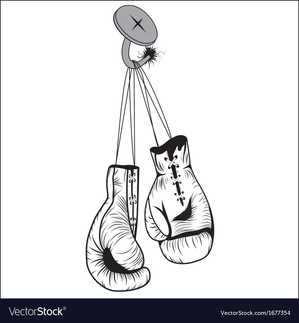 Boxing gloves hang with laces nailed to wall vector | Price: 1 Credit (USD $1)