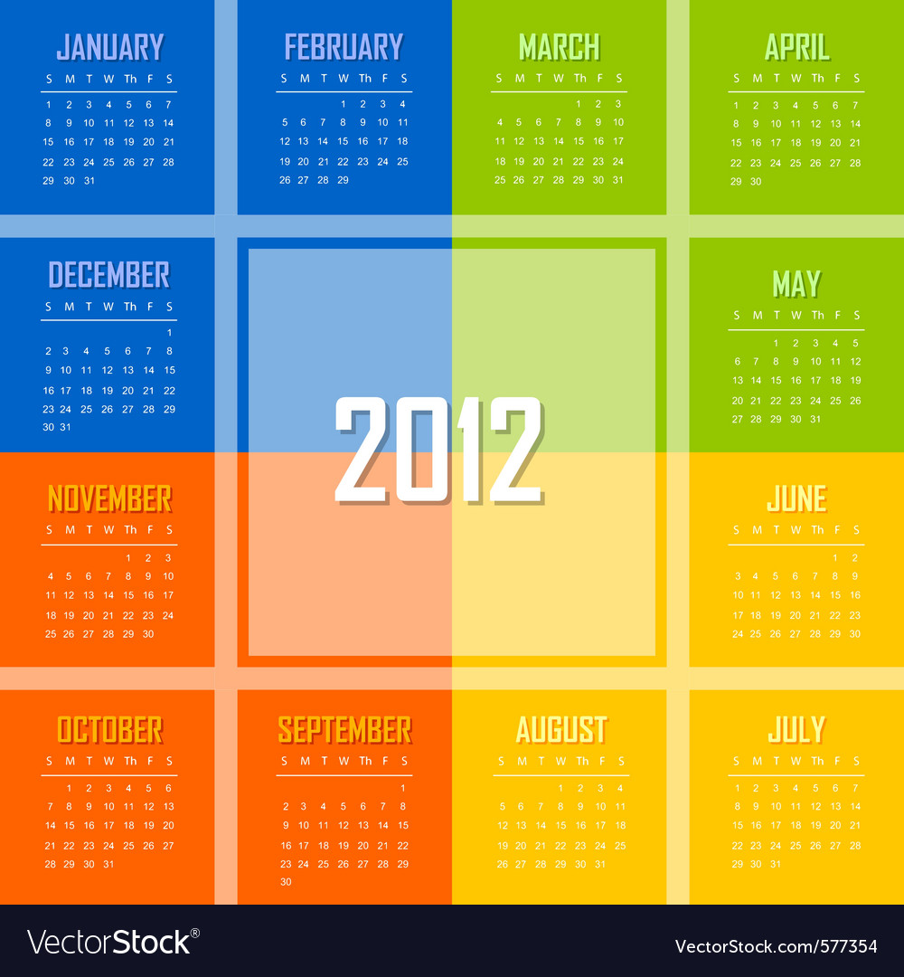 Calendar 2012 vector | Price: 1 Credit (USD $1)