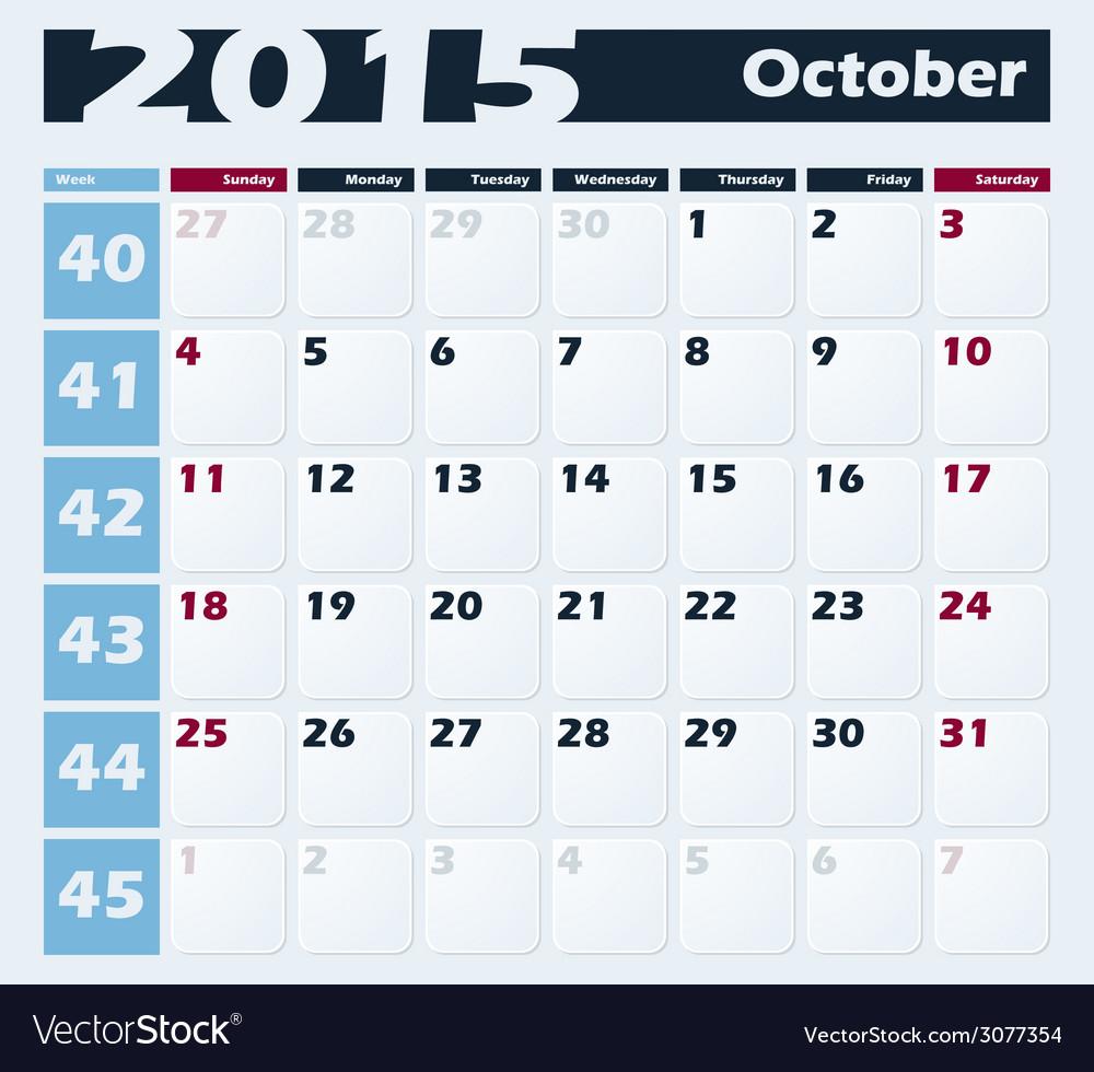 Calendar 2015 october design template vector | Price: 1 Credit (USD $1)