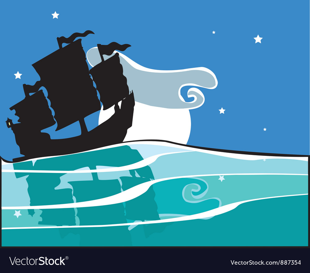 Chinese junk at night vector | Price: 1 Credit (USD $1)