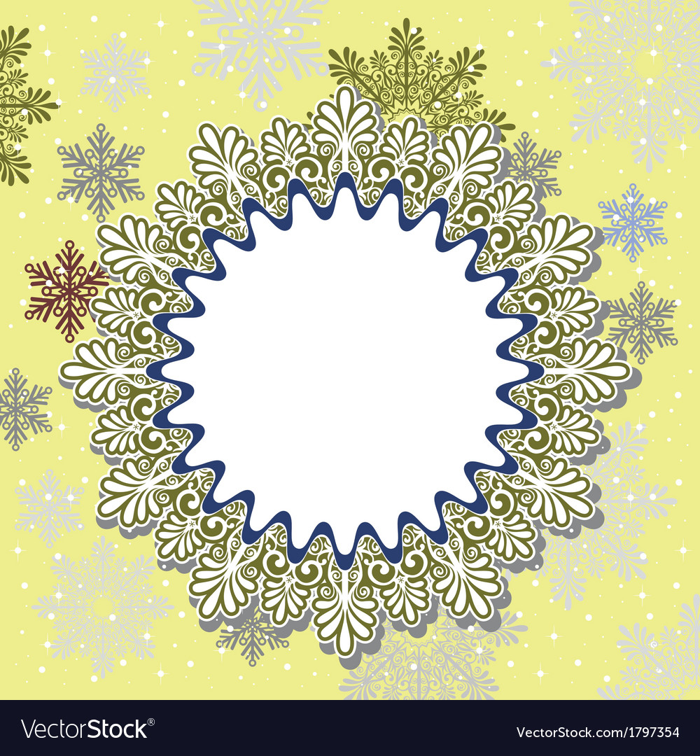 Christmas frame on snow background vector | Price: 1 Credit (USD $1)