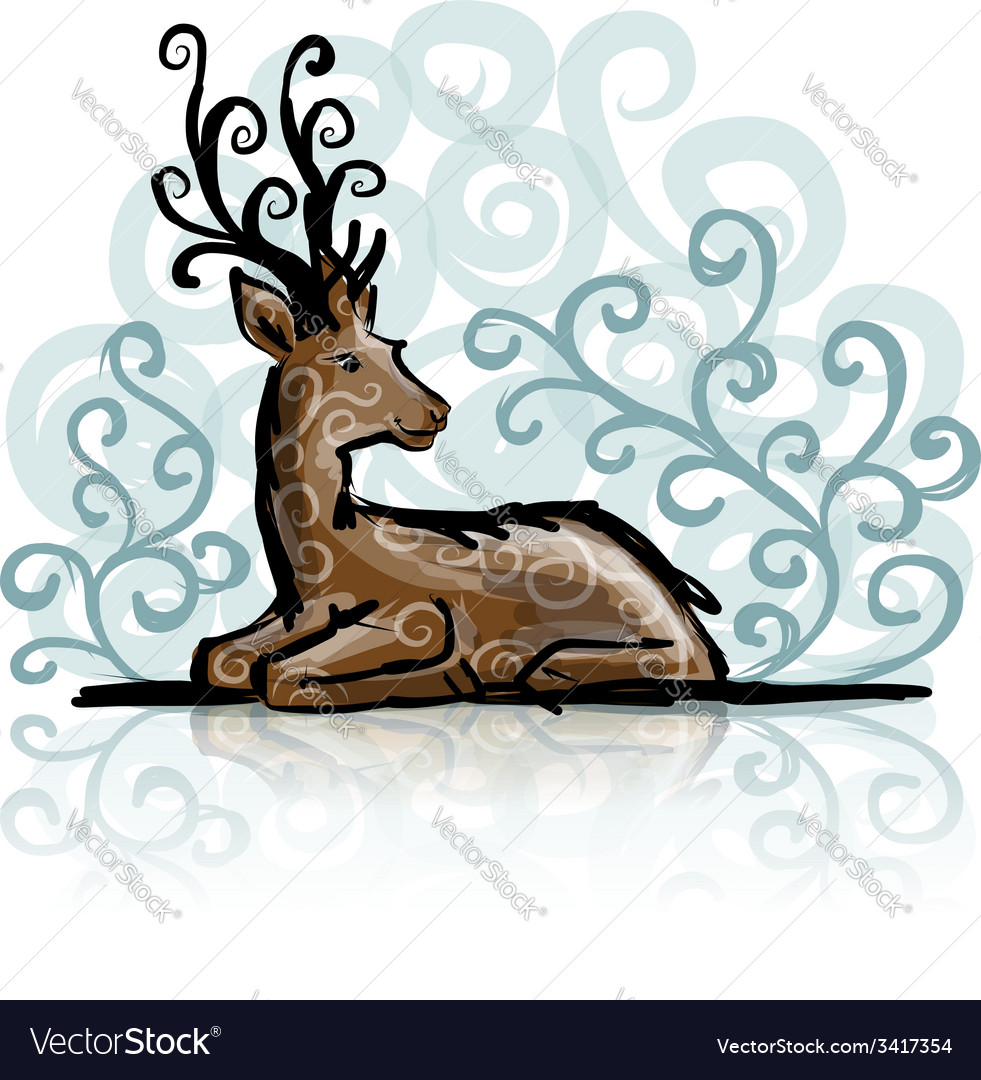 Deer sketch for your design vector | Price: 1 Credit (USD $1)