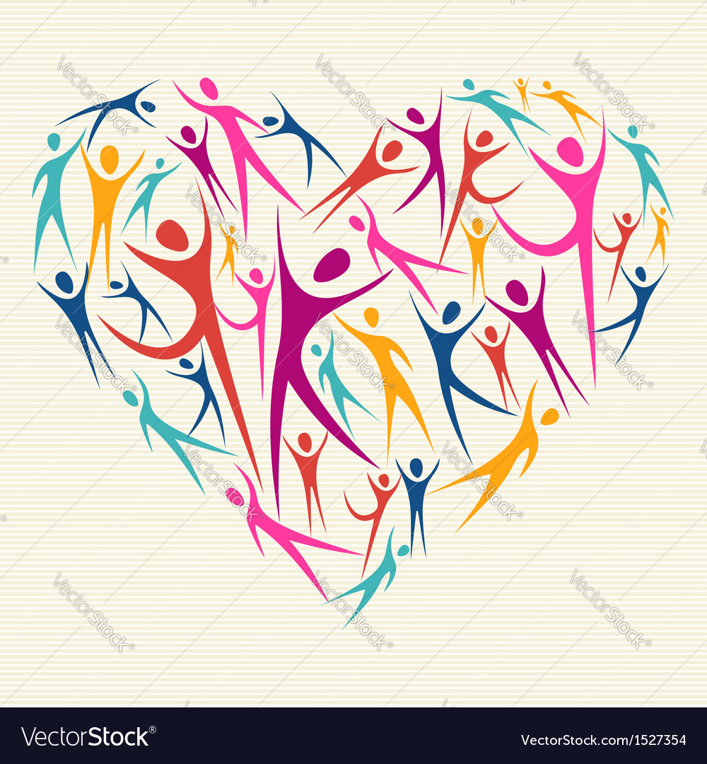 Embrace diversity concept heart vector | Price: 1 Credit (USD $1)