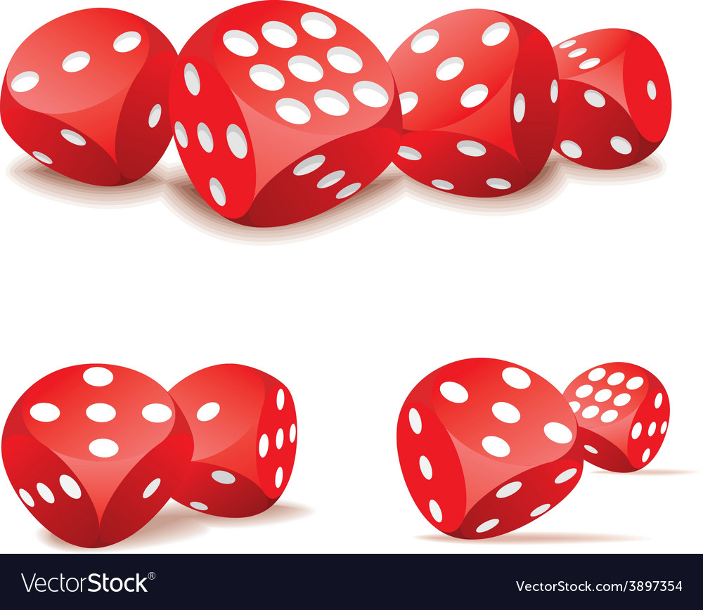 Red dices in action vector | Price: 1 Credit (USD $1)