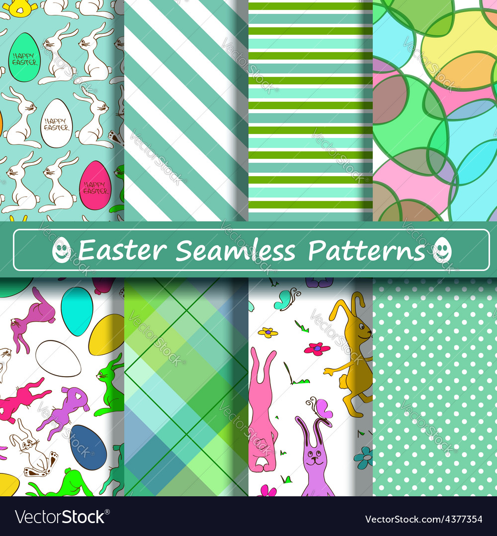 Set of scrapbook easter seamless patterns vector | Price: 1 Credit (USD $1)