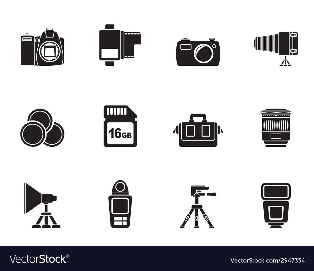 Silhouette photography equipment and tools icons vector | Price: 1 Credit (USD $1)