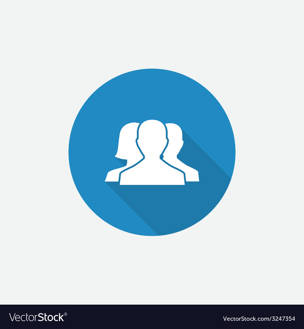 Team flat blue simple icon with long shadow vector | Price: 1 Credit (USD $1)