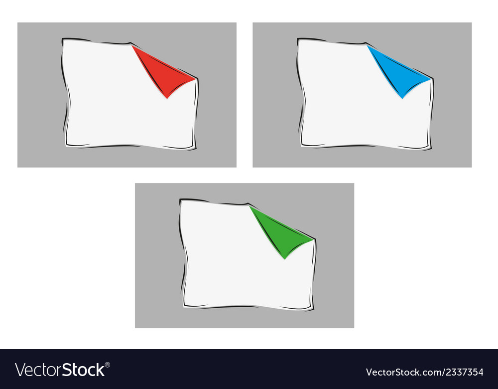 White blank paper with one bent corner with three vector | Price: 1 Credit (USD $1)