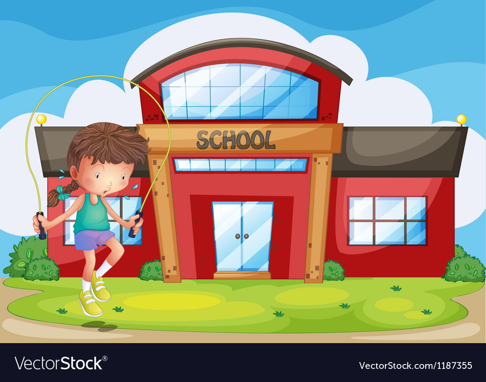 A girl playing in front of the school vector | Price: 1 Credit (USD $1)