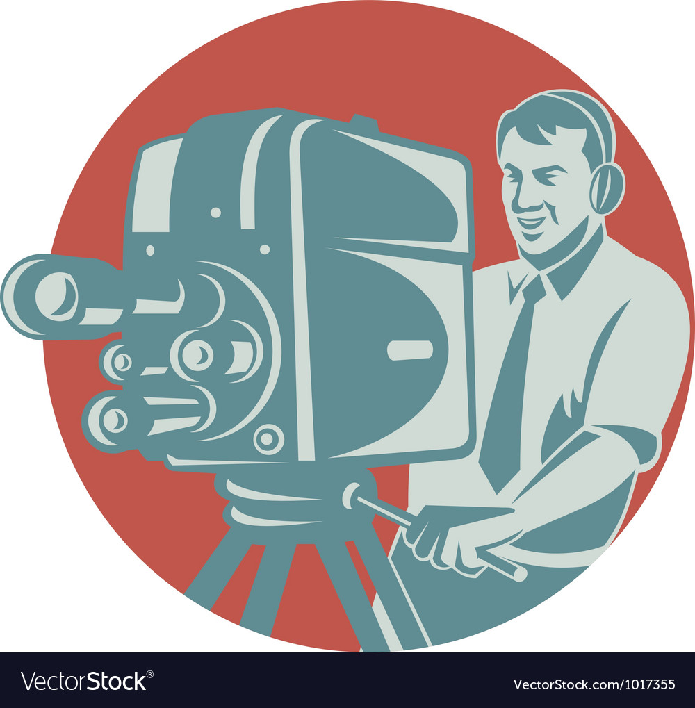 Cameraman filming with vintage tv camera vector | Price: 1 Credit (USD $1)