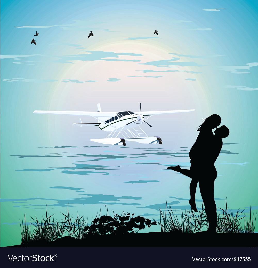 Couple standing on the beach vector | Price: 1 Credit (USD $1)