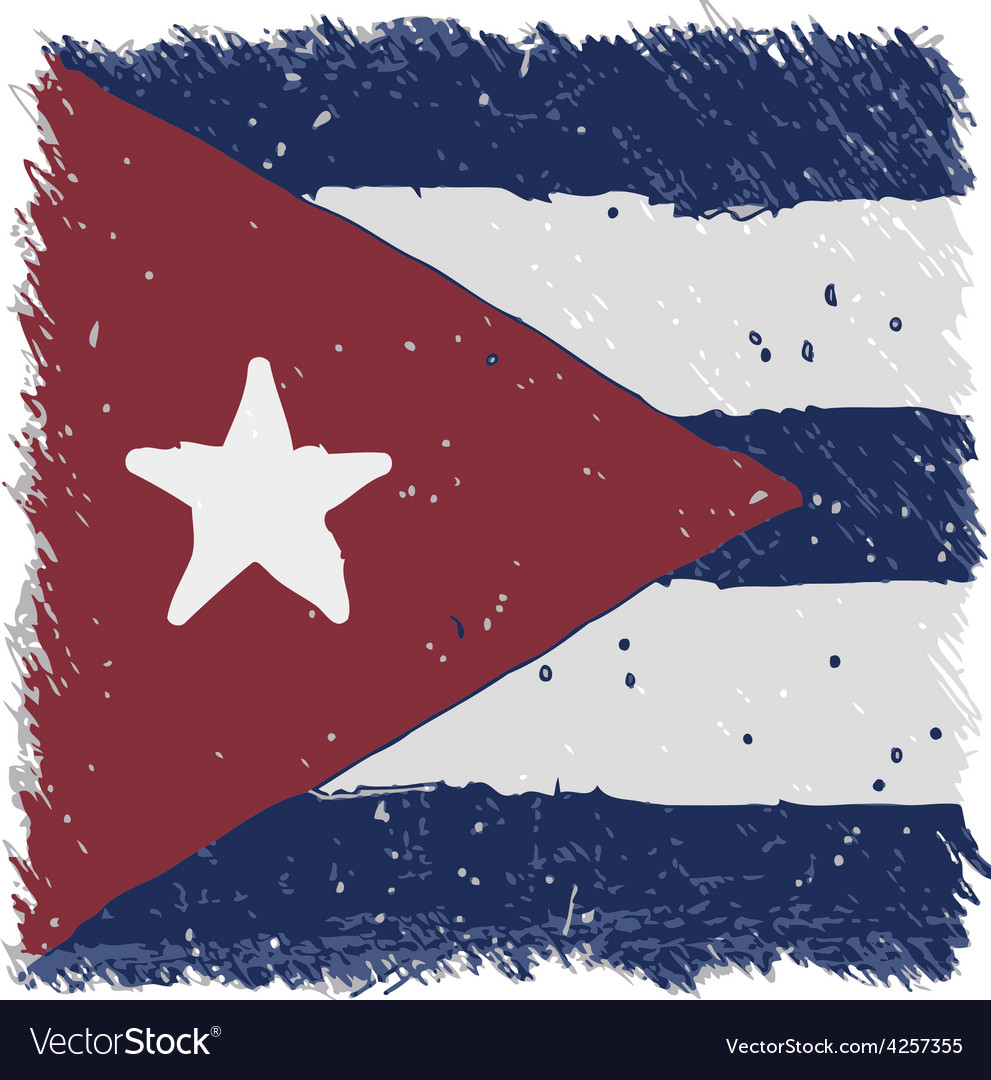 Flag of cuba handmade square shape vector | Price: 1 Credit (USD $1)