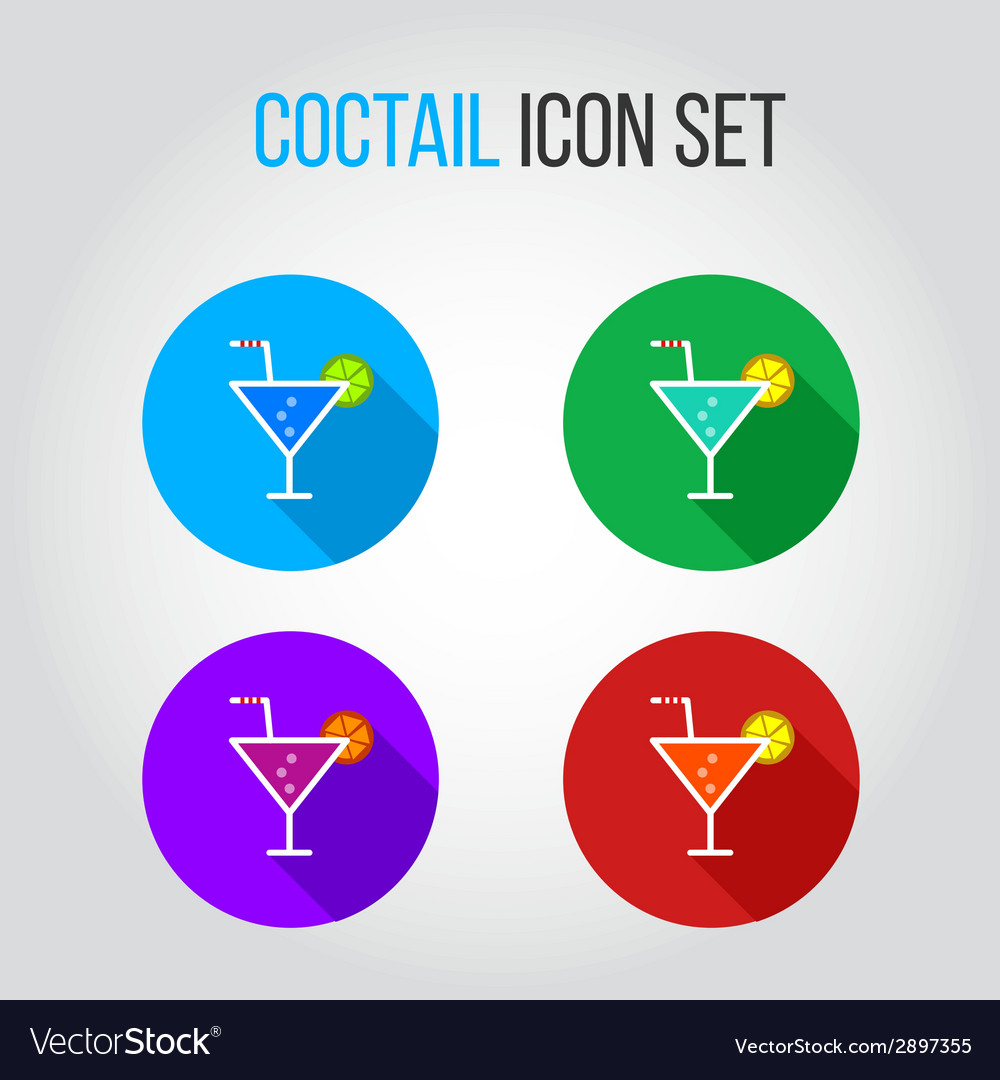Icon set of fresh coctails with lime and orange vector | Price: 1 Credit (USD $1)