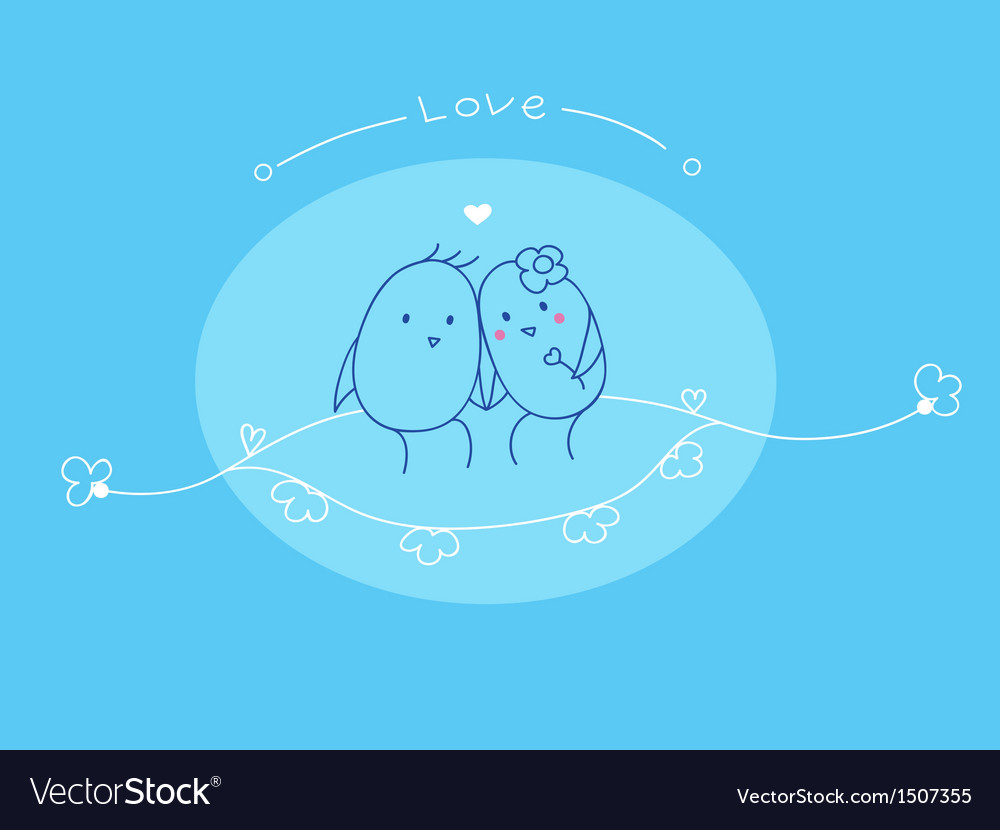Love and cute bird vector | Price: 1 Credit (USD $1)