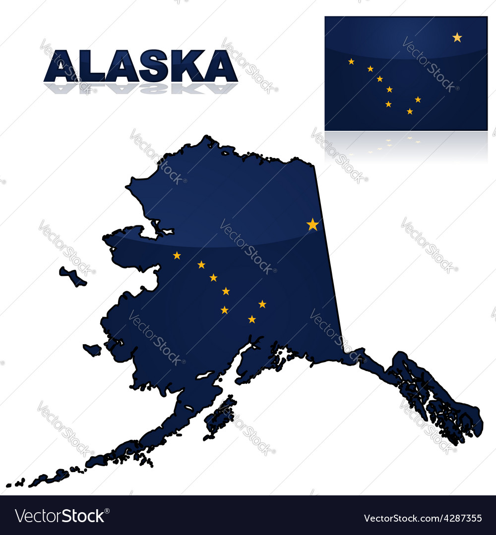 Map and flag of alaska vector | Price: 1 Credit (USD $1)