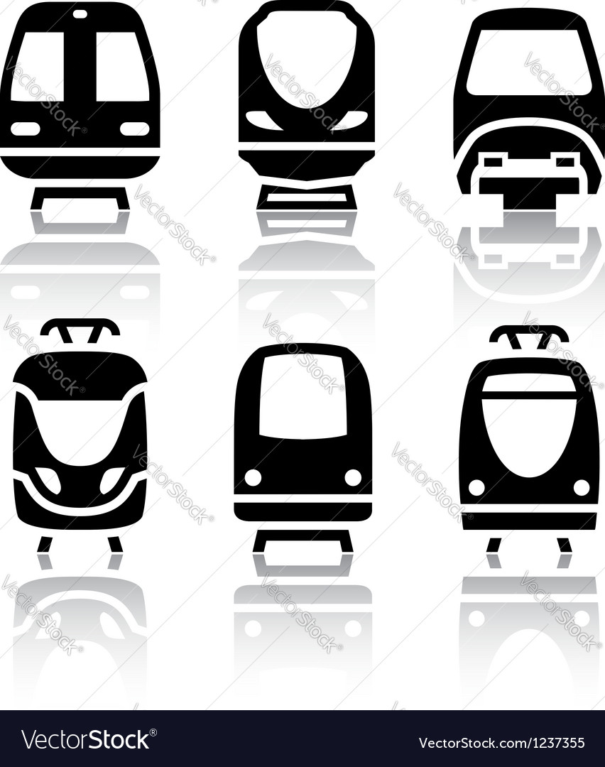 Set of transport icons - train and tram vector | Price: 1 Credit (USD $1)