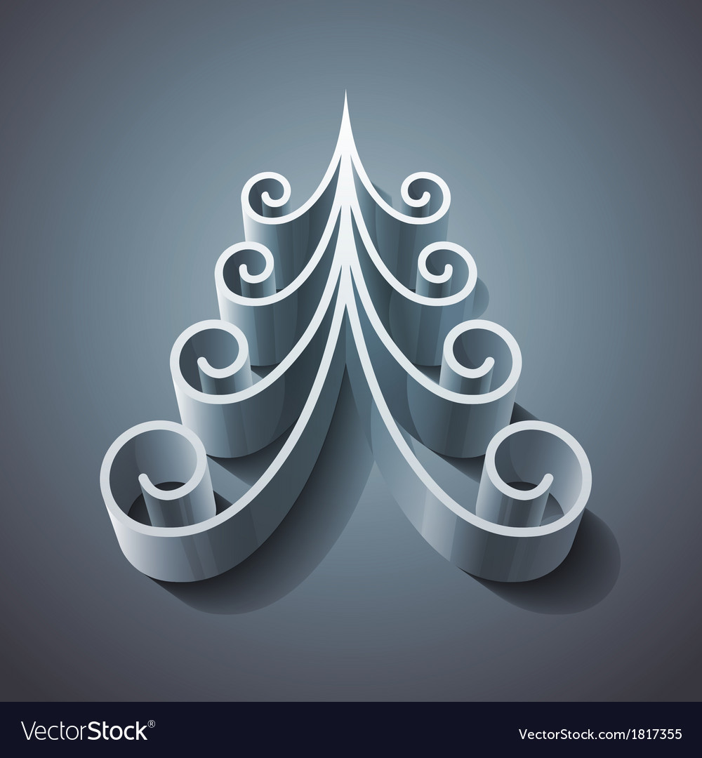 Shining silver 3d christmas tree vector | Price: 1 Credit (USD $1)