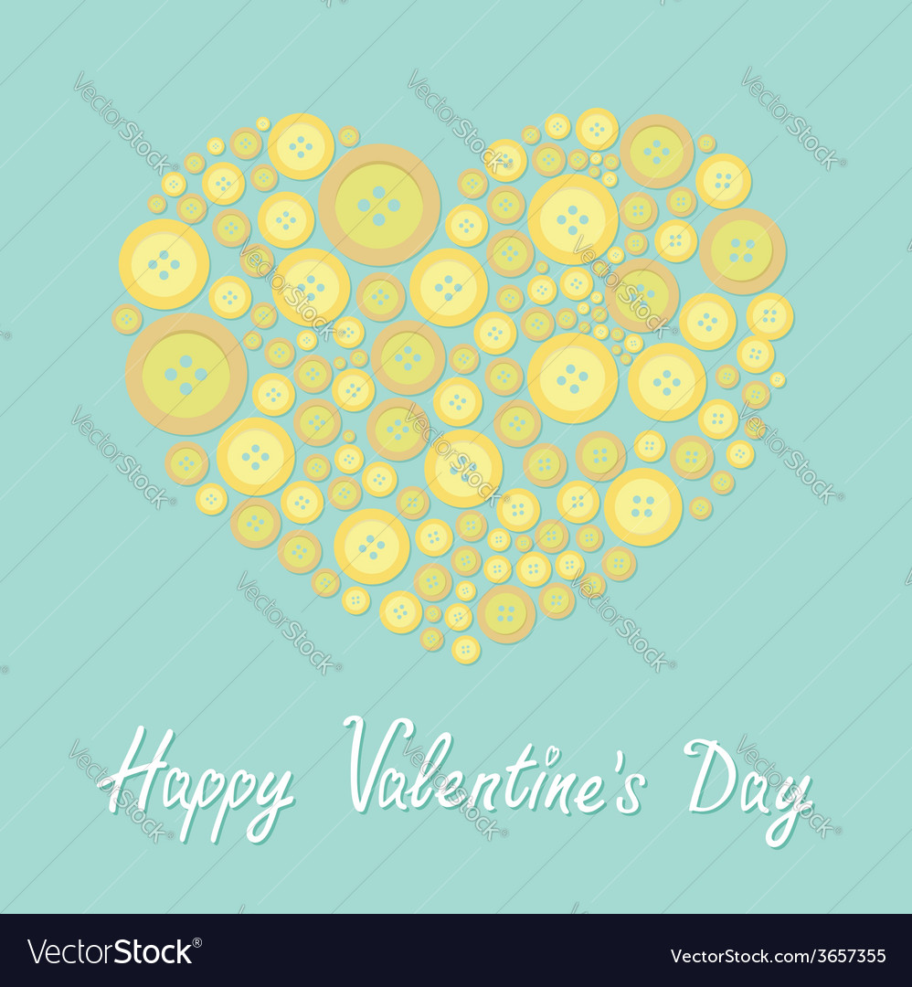 Yellow heart made from buttons love card flat vector | Price: 1 Credit (USD $1)