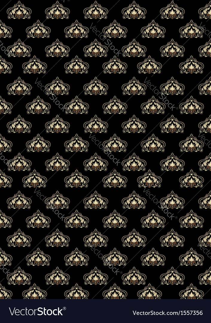 Black background with old classic pattern vector | Price: 1 Credit (USD $1)