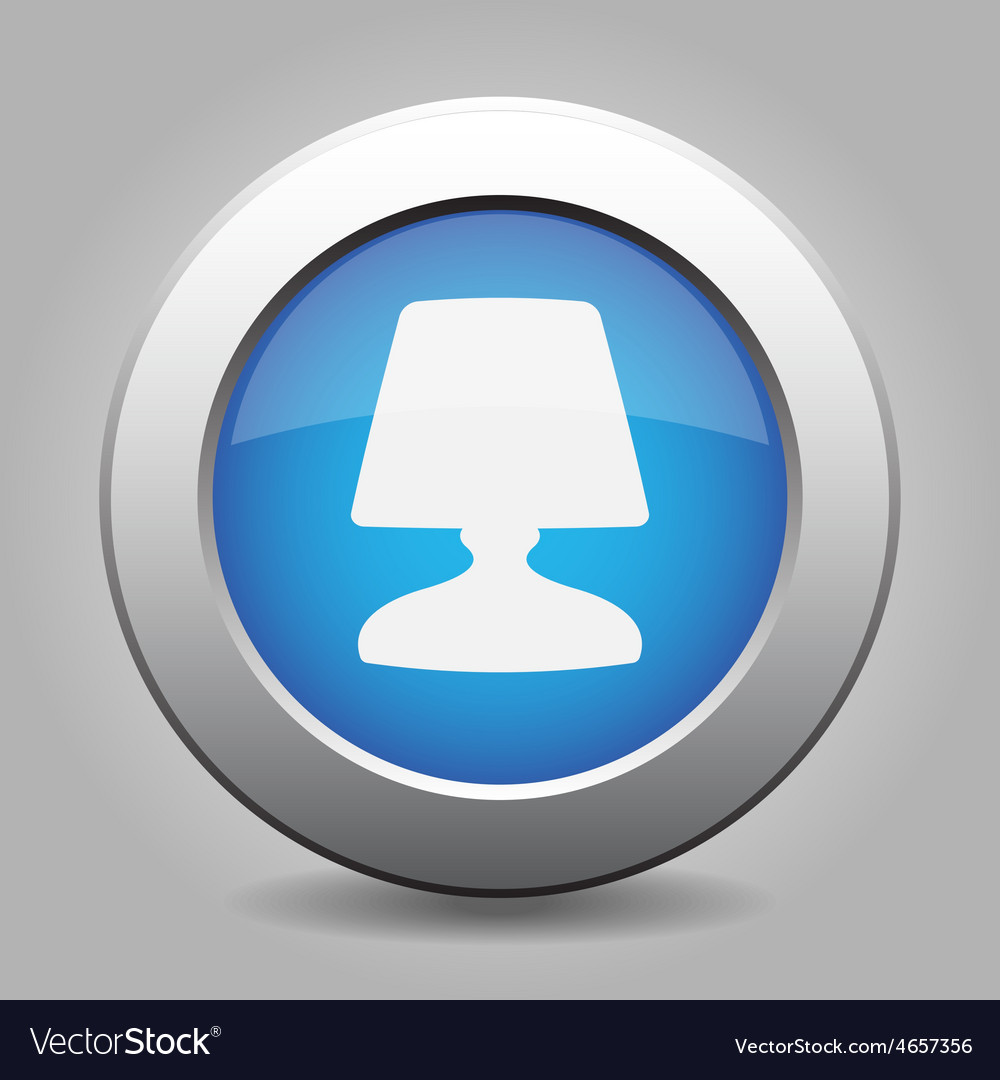 Blue metal button with lamp vector | Price: 1 Credit (USD $1)