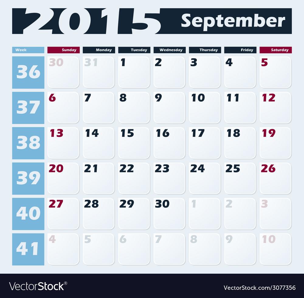 Calendar 2015 september design template vector | Price: 1 Credit (USD $1)