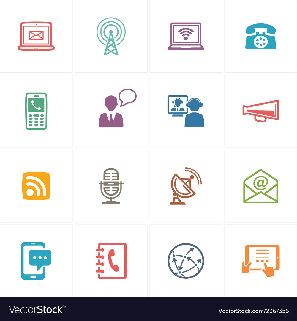 Communication icons set 1 - colored series vector | Price: 1 Credit (USD $1)