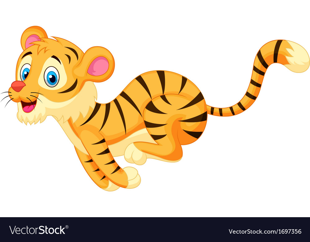 Cute tiger cartoon running vector | Price: 1 Credit (USD $1)