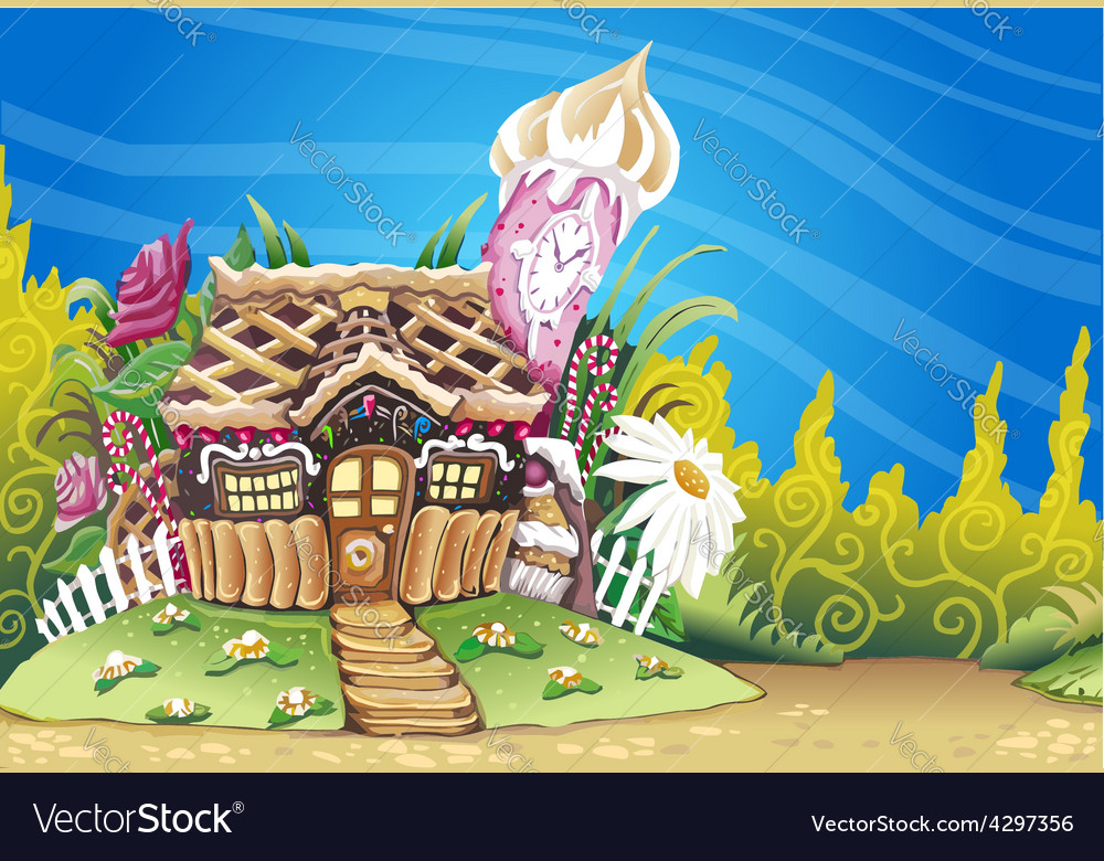 Fantasy marzipan sweets house background vector | Price: 5 Credit (USD $5)