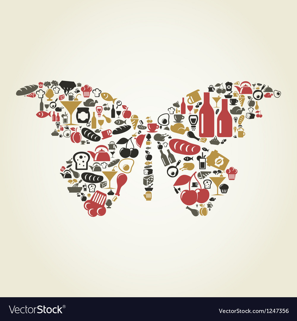 Food the butterfly vector | Price: 1 Credit (USD $1)