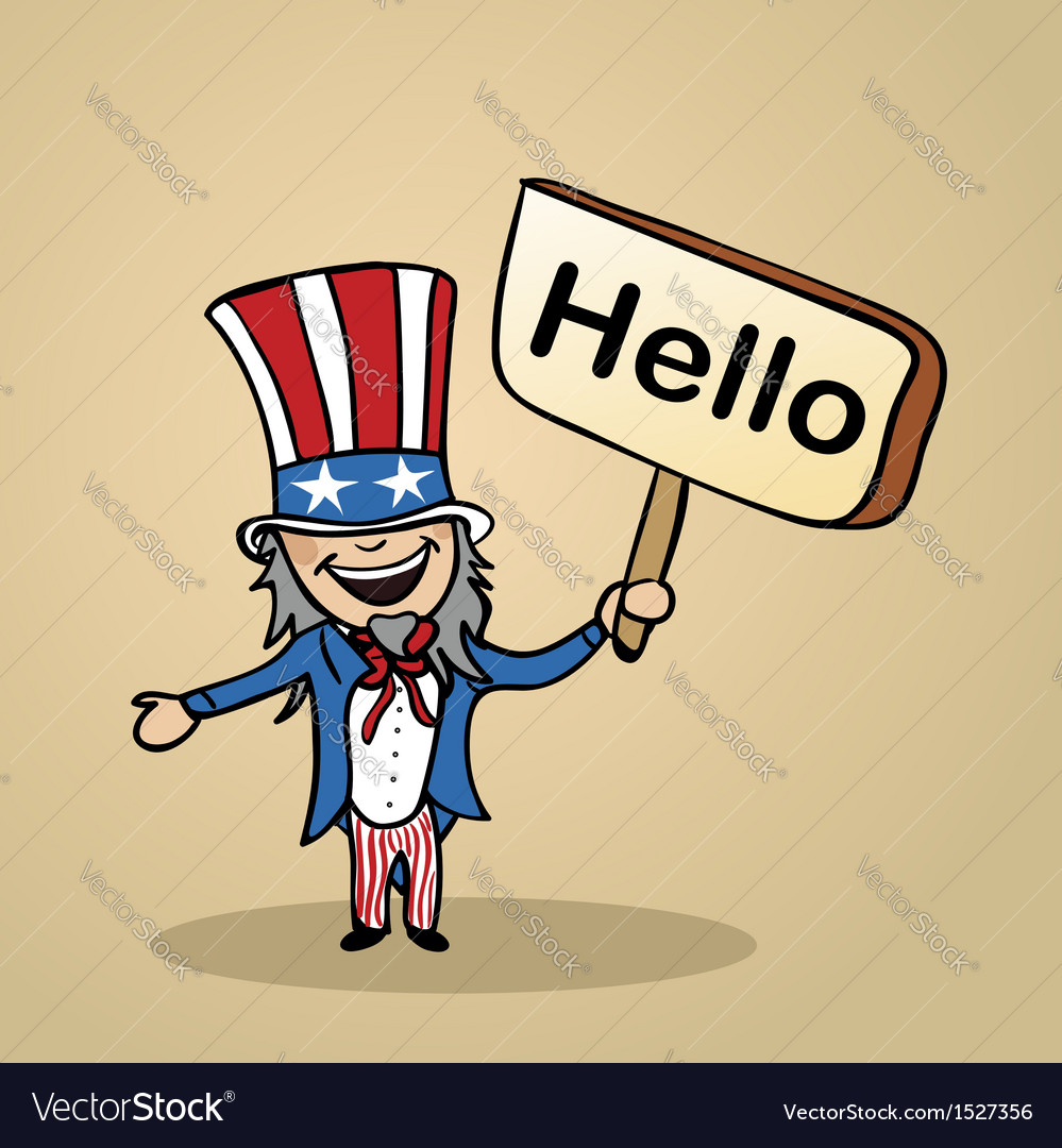 Hello from usa people vector | Price: 1 Credit (USD $1)